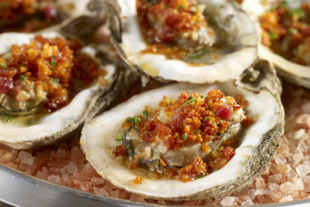 Chargrilled Gulf Oysters With Bacon-Anchovy Butter