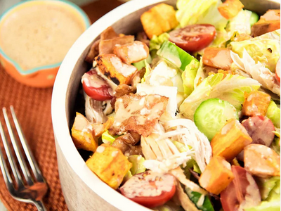 CHICKEN SALAD WITH BBQ DRESSING